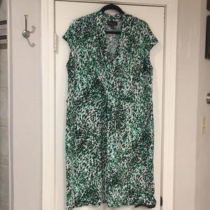 Dana Buchman Green, Black, White Print Dress - 1X